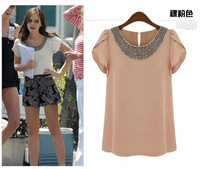 2014 New Arrival Summer Fashion T Shirt  Beading Butterfly Sleeve Chiffon Blouse Casual Chiffon Blouse Tops Free Shipping-H320