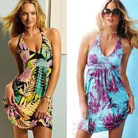New 2014 Summer Fashion Brand Women Sexy Bikini Holiday Beach Cover Up Beach Dress V-neck Ladies Halter Dresses Free Shipping