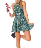 2014 Summer Hot Sale ! High Quality New Fashion Women's Pleated Leaf Digital Print Galaxy Black Milk Skater Dress Free Shipping