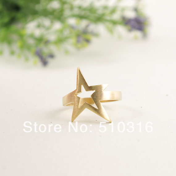 18K Gold/Rose Gold/Silver Star Stackable Ring(China (Mainland))