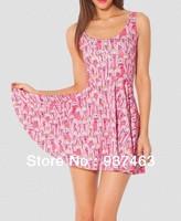 2014 New Arrive Women Cartoon Adventure Time Princess Bubblegum Scoop Skater Dress Fashion Party Dress Free Shipping