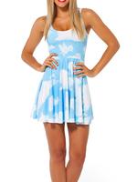 2014 Summer Hot Sale New Fashion Women's Pleated Blue Sky Digital Print Galaxy Black Milk Skater Dress Free Shipping