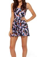 2014 Summer Hot Sale New Fashion Women's Pleated Hell Yeah Digital Print Galaxy Black Milk Skater Dress Free Shipping
