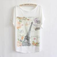 2014 Hot Sale! Fashion Cotton T shirt  Eiffel Tower Print O-neck Short Batwing Sleeve Women Plus Size Tops Free Shipping