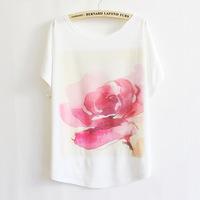 2014 Hot Sale! Fashion Cotton T shirt  Big Red Flower Print O-neck Short Batwing Sleeve Women Plus Size Tops Free Shipping