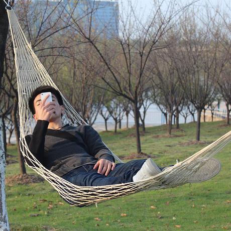 Outdoor rope mesh hammock single net bag cotton rope hammock swing 75 cotton rope lashing bag(China (Mainland))