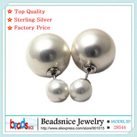 Beadsnice ID28544 hot sale real 925 silver double faced pearl earrings for women new style shell beads stud earrings wholesale