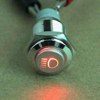 16mm Driving Lights car Main Beam light symbol Push Button on/off switch