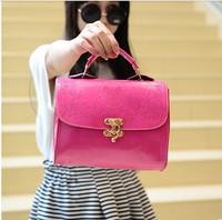 Free shipping Summer 2014 oil skin women's handbag fashion candy color shoulder bag messenger bag trend bags