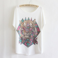 High Quality 2014 Summer New Style Thin Loose Special Tiger Print T Shirt Women Short Batwing Sleeve Top Free Shipping-H278
