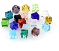 Wholesale - 500pcs/lot mix colors cube Glass Beads Findings 6MM Free Shipping