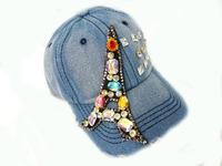 Fashion Paris Eiffel Tower Colorful Diamonded Washed Denim Baseball Caps For Women Free Shipping