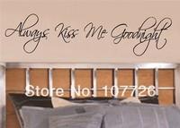 Always Kiss Me Goodnight vinyl wall lettering words art sticky home decor phrases...