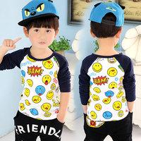 2014 spring smiley boys clothing baby child long-sleeve basic shirt t-shirt tx-2619