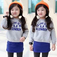 2014 spring and autumn letter girls clothing baby child sweatshirt skirt set tz-1129