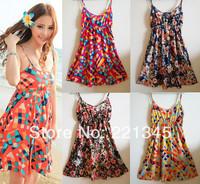 Summer bohemia rustic o-neck spaghetti strap one-piece dress  beach dress shortcotton