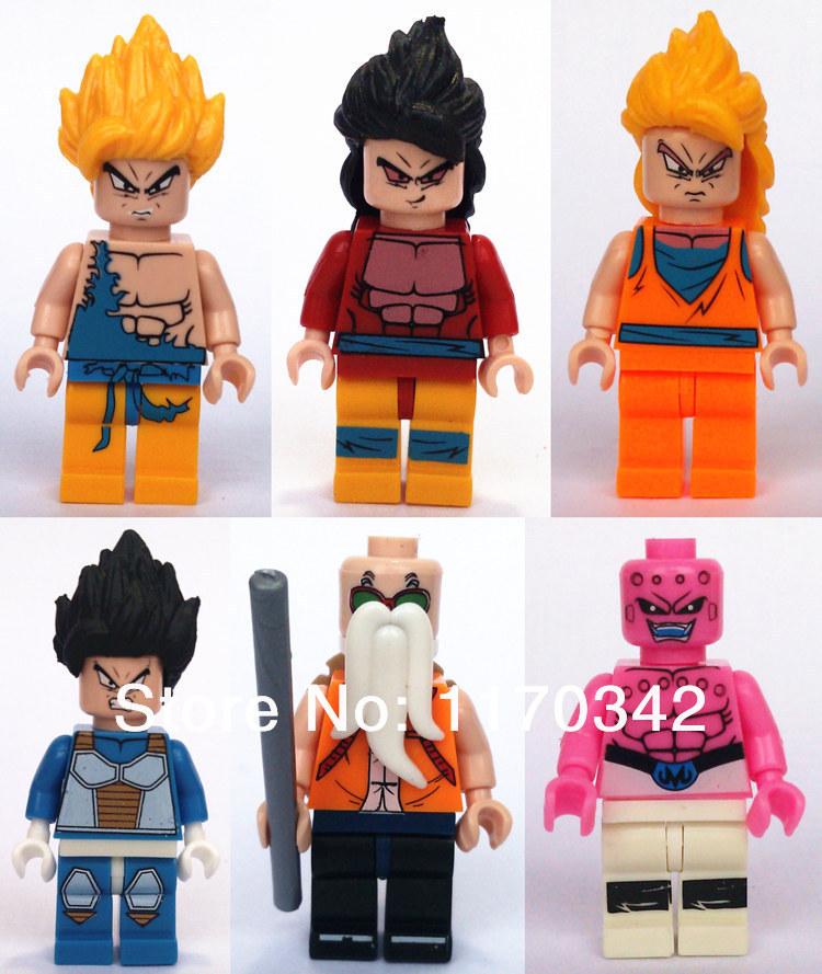 Dragon ball son goku vegeta master roshi figure giocattoli 6pcs/lot blocchi gruppi elettrogeni modello mattoni giocattoli tradizionali