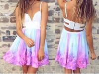 free  shipping  2014 lovegirl  Irregular galaxy sexy dress bacless dress FT825