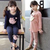 2014 spring and autumn bear girls clothing child long-sleeve T-shirt legging set tz-1066