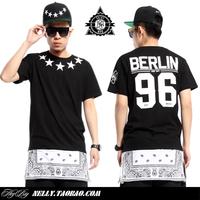 SaintMnw 20104 Mens fashion Bandana Mens T-shirt Side Zipper Streetwear Hip-hop Stars Print Tshirts Long Design Free Shipping