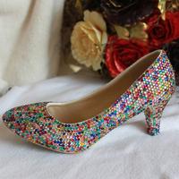 Rhinestone pointed toe medium hells shoes comfortable formal dress shoes princess crystal shoes wedding shoes bridal shoes