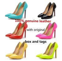 Free shipping ladies single shoes woman 2014 spring new pumps sexy 100% genuine leather  red bottom high heels wedding shoes