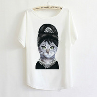 2014 Hot Retro Cool Punk T-shirt Women Top Fashion Tee Elegant Angel Audrey Hepburn Cat Batwing Sleeve T shirt