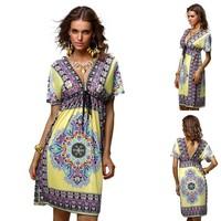 2014 Fashion Retro 1960s 1970s Vintage Paisley Print V Neck Hippie Bohemian Summer Dress Women Beach Dress Free Shipping H312