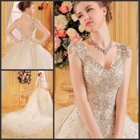 Ultimate luxury crystal wedding dress new arrival straps 2014 train wedding dress princess wedding dress xi20145