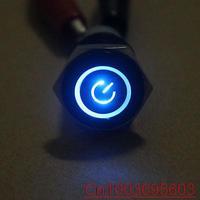 Black case 16mm Blue Symbol&Angel Eye LED 12V Push Button Metal ON/off switch