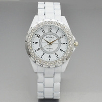 Brand ROSRA White Decoration Watch Women Fashion Rhinestone Crystal Quartz Watch Wristwatch Best Gifts