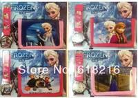 20pcs Frozen Watch Kids Fashion Quartz Cartoon Watch and Wallet Candy Cute Lovely Boy Girl Woman Lady Children Watch QH6021
