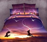 3d oil painting piece set cotton skin-friendly 100% activated print the bed four piece set