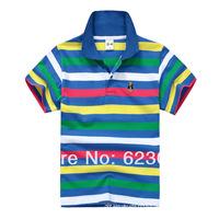 Free shipping wholesale boy's t shirt, boy color stripes short T-shirt,80-130cm,6pcs/lot,