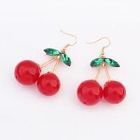 MOQ=10usd 2014 New Lovely cherry Drop Earrings sweet Dangle Earrings for Women wholesale Fashion Jewelry