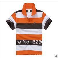 Free shipping wholesale boy color stripes short T-shirt,80-130cm,6pcs/lot