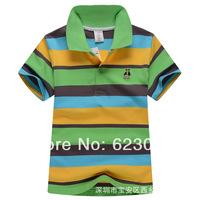 Free shipping wholesale baby & kids clothing, boys color stripes short T-shirt,80-130cm,6pcs/lot,