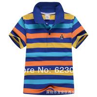 Free shipping wholesale children's  clothing, boys color stripes short T-shirt,80-130cm,6pcs/lot,