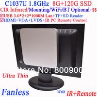 Auto boot minipc fanless with IR remote Mounting Intel Celeron C1037U 1.8Ghz USB 3.0 Dual Nic TF SD Card Reader 8G RAM 120G SSD