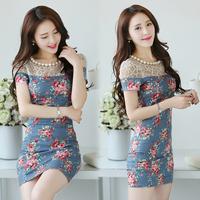 Hot sale good quality women patchwork print summer dress  newest woman woman denim dress with necklack