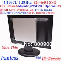 Auto boot fanless mini pc with IR remote Mounting Intel Celeron C1037U 1.8Ghz USB 3.0 Dual Nic TF SD Card Reader 8G RAM 64G SSD