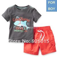 2pcs/set,Lastest 2014 Carter's Toddler Boy Cotton Shirt&board Short Pant Set Kid Summer Clothing Suit, In Store, yw