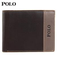 Polo wallet male genuine leather short  men's cowhide orizontal