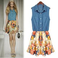 Hot sale good quality women patchwork turn down collar summer vest dress newest  woman denim dress