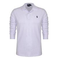 Paul men's clothing long-sleeve T-shirt male 2014t 100% solid color slim cotton white