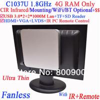 Fanless cheap Barebone with 4G RAM Only Intel Celeron C1037U 1.8G USB 3.0 Dual Gigabit NICs TF SD Card Reader IR remote Vesa
