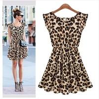 2014 fashion Summer new European style leopard dress, Slim sleeveless vest dress  free shipping