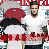 Male short-sleeve T-shirt white 100% tight-fitting cotton o-neck short-sleeve slim gulps half basic shirt