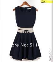 New 2014 summer women's solid chiffon o-neck sleeveless patchwork ruffles ball gown one piece dress