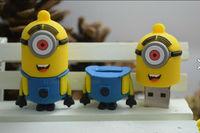 2014 Newest cartoon toy Minions Despicable Me 2 USB  flash drive 8GB 16GB 32GB 64gb USB 2.0 Memory Stick,usb flash disk Freeship